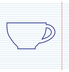 Cup sign navy line icon on notebook paper vector
