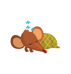 cute brown mouse sleeping on the floor wrapped in vector image