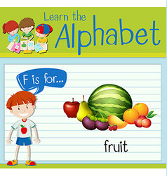 Flashcard letter F is for fruit vector image vector image
