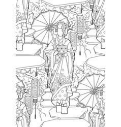 graphic geisha with umbrella vector image vector image