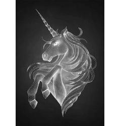 graphic unicorn in stippling technique vector image vector image