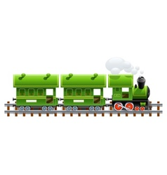 Green retro locomotive with vector