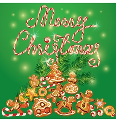 Greeting holiday card of xmas gingerbread vector