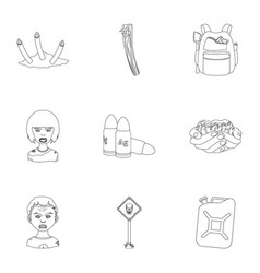 Ground zombie corpse and other web icon in vector