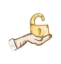 Hand holding a open lock vector