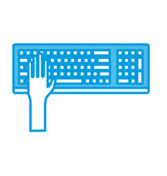 hand in keyboard vector image vector image