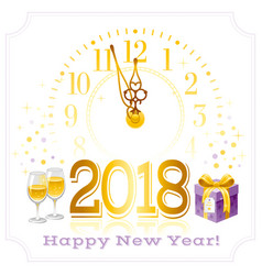 happy new year 2018 text logo icon poster vector image
