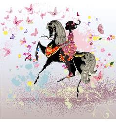 Khokhloma horse girl vector image vector image