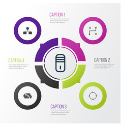 Learning icons set collection of solution vector