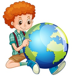 Little boy and the world vector