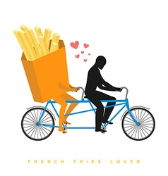 Lover french fries Food on bicycle Lovers of vector image vector image