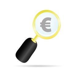 magnifier with euro color vector image vector image