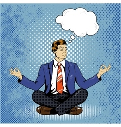 Meditating man with speech bubble in retro pop art vector