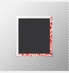 Photo frame with hearts of confetti vector