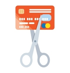 Scissors cut credit card icon vector image