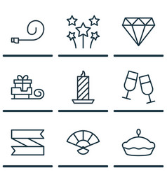 Set of 9 happy new year icons includes brilliant vector