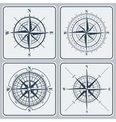 Set of compass roses windroses vector image