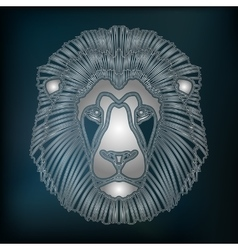 Silver lion portrait zodiac leo sign vector