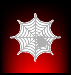 Spider on web postage stamp or old vector