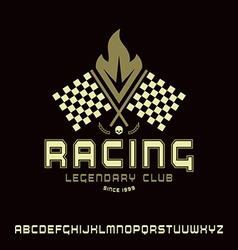Square sanserif font in racing style vector