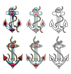 tattoo anchor dot vector image