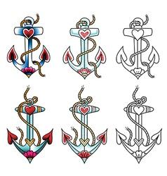 Tattoo anchor dot vector