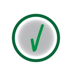 Tick green sign on a gray circle vector image