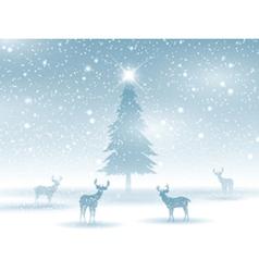 winter landscape with deer 2211 vector image vector image