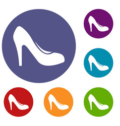 women shoe with heels icons set vector image