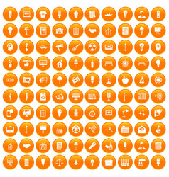100 lamp icons set orange vector