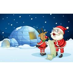 Santa claus and reindeer vector