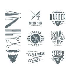 Set of vintage barber shop badges vector