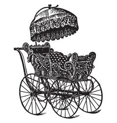 Vintage baby stroller vector