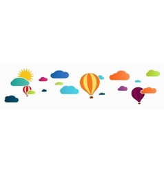 sun and clouds with hot air balloon vector image