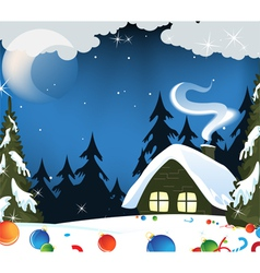 Forest hut and christmas decorations vector