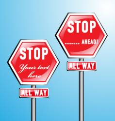 two stop signs vector image