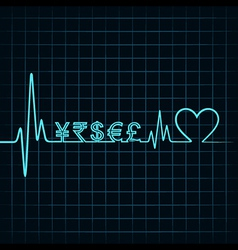 Heartbeat with a currency symbol in line vector