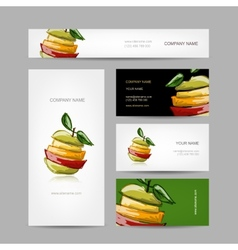 Business cards design slices of fruits vector