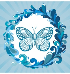 Water frame with butterfly vector image