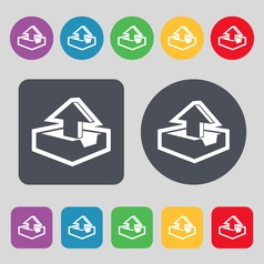Upload icon sign a set of 12 colored buttons flat vector