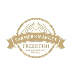 Green badge in retro style for farmers market vector