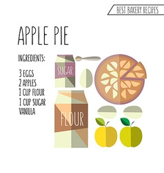 Colorful of flat design style apple pie reci vector