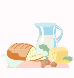 Bread and sliced cheese a pitcher of milk eggs a vector