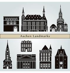Aachen landmarks and monuments vector