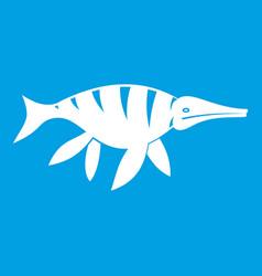 aquatic dinosaur icon white vector image vector image