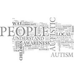 Awareness of autism text word cloud concept vector