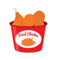 Bucket of fried chicken tasty fast food vector