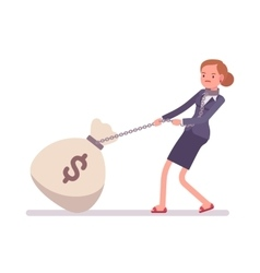 Businesswoman dragging a giant heavy money sack vector