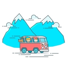 Camper van in the mountain vector