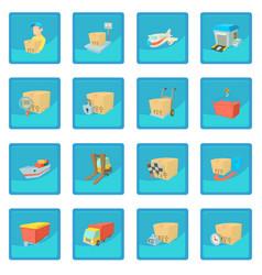 Cargo logistics icon blue app vector
